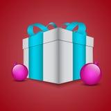 Christmas gift box with Christmas decorations and. Christmas illustration with gift box and Christmas balls Stock Photo