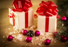 Christmas gift box with Christmas decorations Royalty Free Stock Photography
