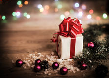 Christmas gift box with Christmas decorations Royalty Free Stock Image