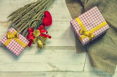 Christmas gift box. Christmas present in box at white wooden tab royalty free stock images