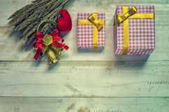 Christmas gift box. Christmas present in box at white wooden tab royalty free stock photos