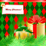 Christmas gift box with christmas tree and card. Scrap background Stock Photos