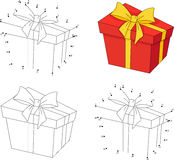 Christmas gift in a box. Coloring book and dot to dot game for k Stock Images