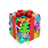Christmas gift box. Creative concept. Gift box (present) with ribbon in the form of holiday symbols: Christmas tree, colored balls, sparkling stars, snowflakes Royalty Free Stock Photo