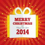 Christmas gift box cut the paper. New year 2014. Royalty Free Stock Photo