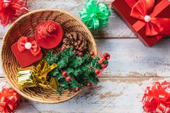 Christmas gift box in Christmas day stock photo