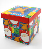 Christmas gift box, decor red on white Royalty Free Stock Images