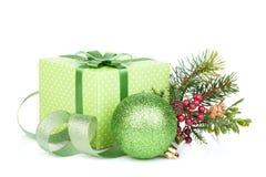 Christmas gift box, decor and tree Royalty Free Stock Image