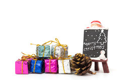 Christmas gift box decorated on white background Stock Images