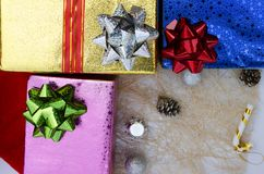 Christmas gift box and decoration backgrounds above, Top views. Close up of Christmas gift box and decoration backgrounds above, Top views royalty free stock photo