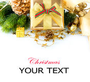 Christmas Gift Box and Decorations Royalty Free Stock Images