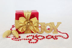 Christmas Gift Box and Decorations Stock Images
