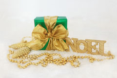 Christmas Gift Box and Decorations Royalty Free Stock Image