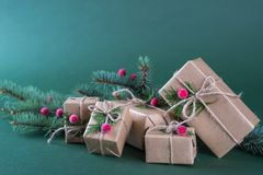 Christmas gift box and decorations. Old fashion style. On green bright background Royalty Free Stock Photos