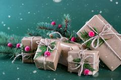 Christmas gift box and decorations. Old fashion style. On green bright background Royalty Free Stock Images
