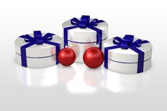 Christmas gift box with decorations Stock Images