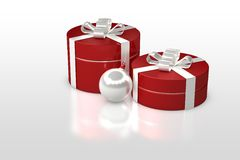 Christmas gift box with decorations Stock Image