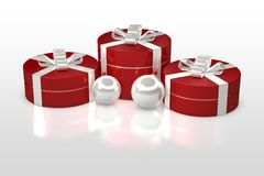 Christmas gift box with decorations Royalty Free Stock Images