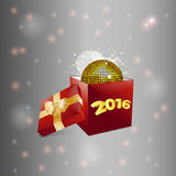 Christmas gift box and disco ball background Stock Photo