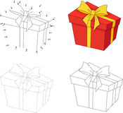 Christmas gift in a box. Dot to dot game for kids Stock Images