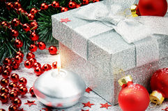 Christmas gift box with festive decoration Royalty Free Stock Images