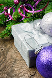 Christmas gift box and festive decorations Stock Image