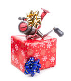 Christmas gift in box for fishers Royalty Free Stock Photography