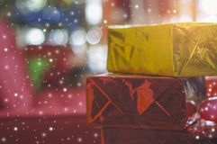Christmas gift box, and glittering sparkle, beautiful concept and fun with copy space. Christmas gift box, and glittering sparkle, beautiful concept and fun royalty free stock photography