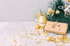 Christmas gift box with gold decorations. New Year Background. stock images