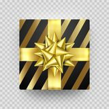 Christmas gift box gold present in golden ribbon bow and wrapping paper wave pattern. Vector premium gift box  on transpar. Ent background for New Year Royalty Free Stock Photo