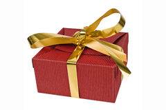 Christmas gift box with gold ribbon. Christmas gift box on white background. Gift box with gold ribbon. Horizontal orientation Royalty Free Stock Images