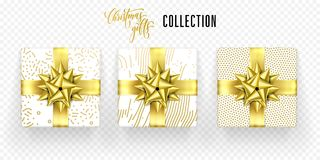 Christmas gift box golden bow ribbon vector icons set New Year greeting. Christmas gift boxes set with golden ribbon bow and gold wrapper pattern. Vector Royalty Free Stock Photography
