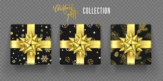 Christmas gift box golden bow ribbon vector New Year greeting wrapper pattern. Christmas gift boxes of golden ribbon bow and. snowflakes and fir tree wrapper Stock Image