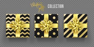 Christmas gift box golden bow ribbon vector wrappign pattern New Year greeting. Gift boxes with Christmas golden ribbon bow and gold pattern wrapping for New Royalty Free Stock Images