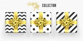 Christmas gift box golden bow ribbon vector icons set New Year greeting. Christmas gift box with golden ribbon bow isolated icons set for New Year or Christmas Royalty Free Stock Image