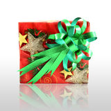 Christmas gift box with green bow Royalty Free Stock Photography