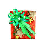 Christmas gift box with green bow Royalty Free Stock Images