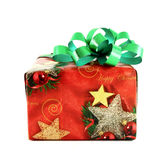 Christmas gift box with green bow Stock Images