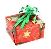Christmas gift box with green bow Royalty Free Stock Image