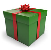 Christmas Gift Box. A green Christmas gift box with red ribbon. CLipping path included for easy selection Royalty Free Stock Photos
