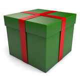 Christmas Gift Box. A green Christmas gift box with red ribbon. Clipping path included for easy selection Royalty Free Stock Photo