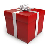 Christmas Gift Box. A green Christmas gift box with red ribbon. Clipping path included for easy selection Stock Images