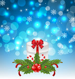 Christmas gift box with holiday decoration Royalty Free Stock Images