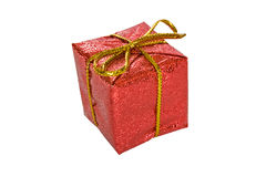 Christmas gift box isolated on white. Red Christmas gift box isolated on white with clipping path Stock Image
