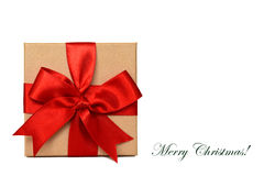 Christmas gift box and Merry Christmas text. Christmas gift box isolated on white background and Merry Christmas text royalty free stock images