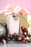 Christmas gift box in modern trend natural gift wrapping - closeup. Stock Photo