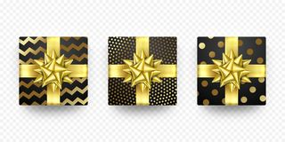 Christmas gift box present zigzag golden ribbon bow wrapping vector foil pattern. Christmas gift box New Year present in golden ribbon bow and wrapping paper Stock Image