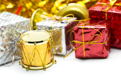 Christmas gift box with ornament Stock Photo