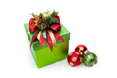Christmas Gift Box & Ornaments Royalty Free Stock Image