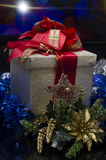 Christmas Gift Box over colored background Royalty Free Stock Photos